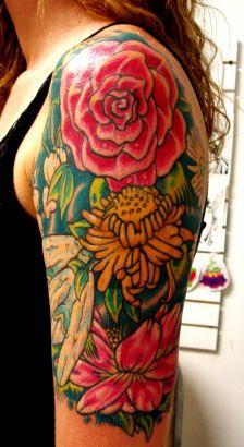 Flower Left Half Sleeve Tattoo
