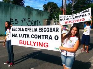 Estudantes protestam contra bullyng. (Foto: Divulgação/ Assessoria de Comunicação da Semed)