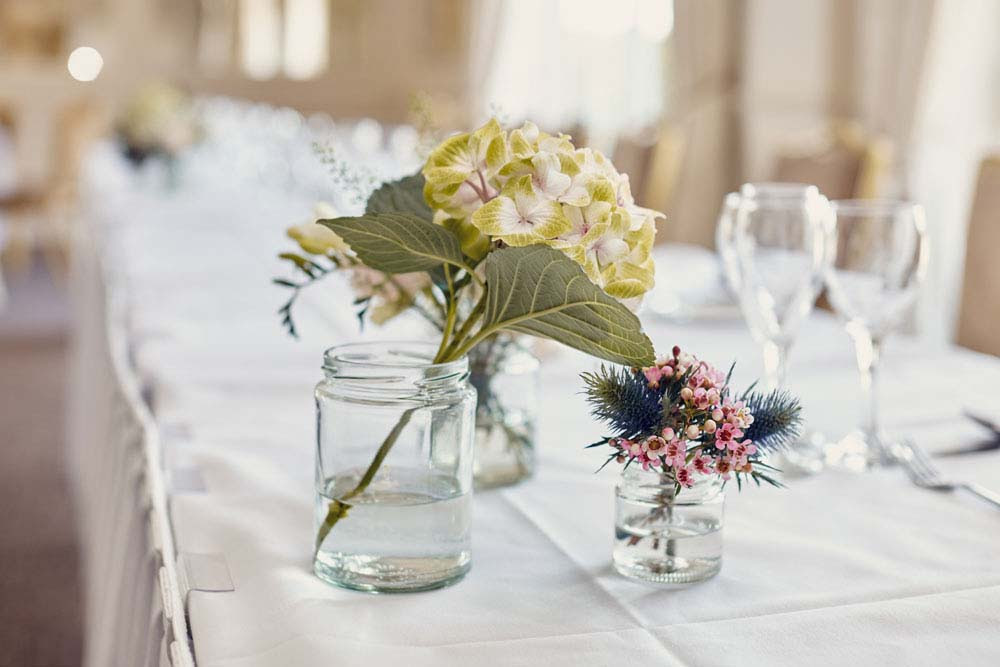 Table decorations at Stoke-by-Nayland Golf Club - www.helloromance.co.uk