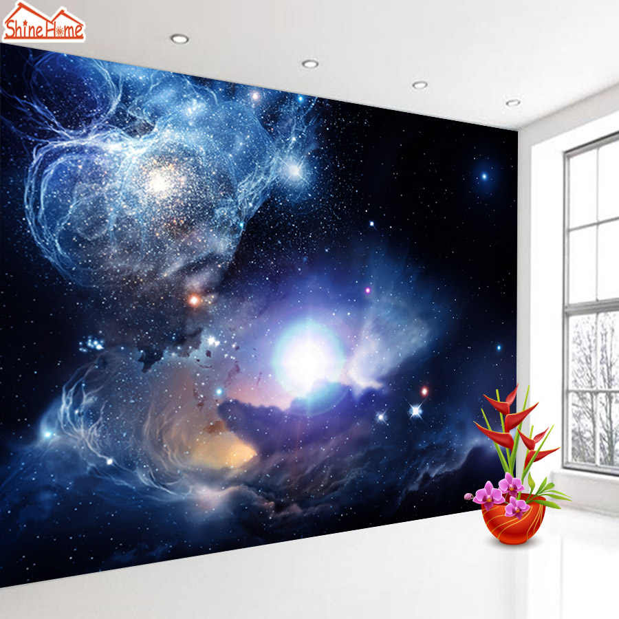 Shinehome Starry Night Space Star Planet Wallpaper Murals Roll For