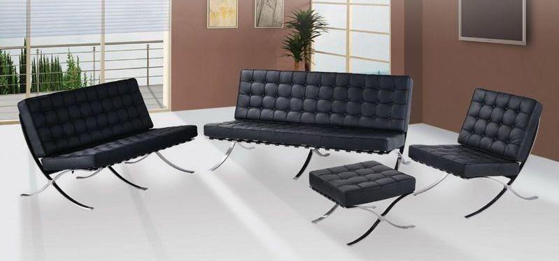 Exposition Famous Design Black Leather Sofa Prime Classic ...