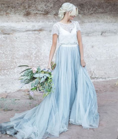Light Blue Wedding Gown White Lace Sheer Detachable Jacket