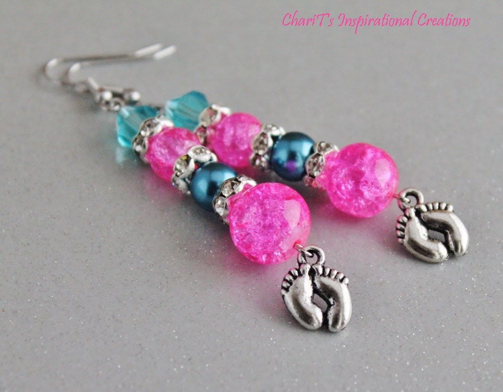 Pink and blue Infant Loss Awareness Earrings