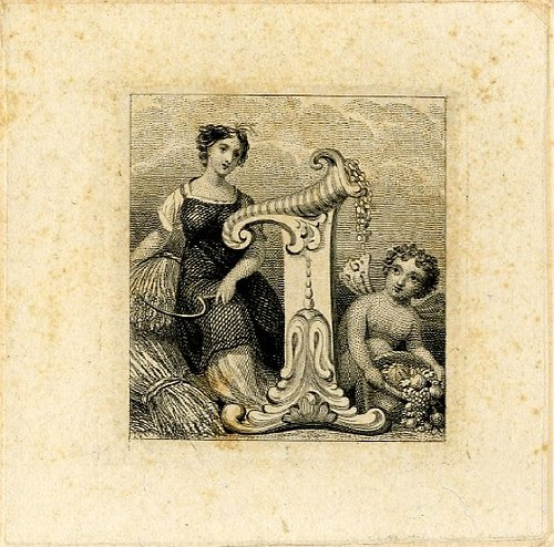 Female figure at left. Cornucopia standing on a base at centre. Child at right. Design printed in black on tan paper. (19th c)