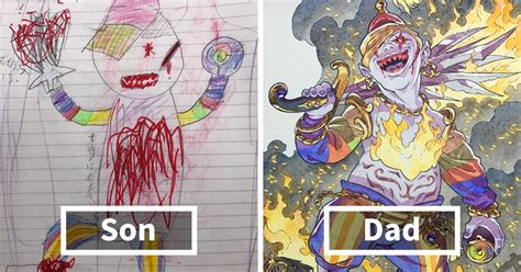 dad redraws  sons drawings  turns   anime