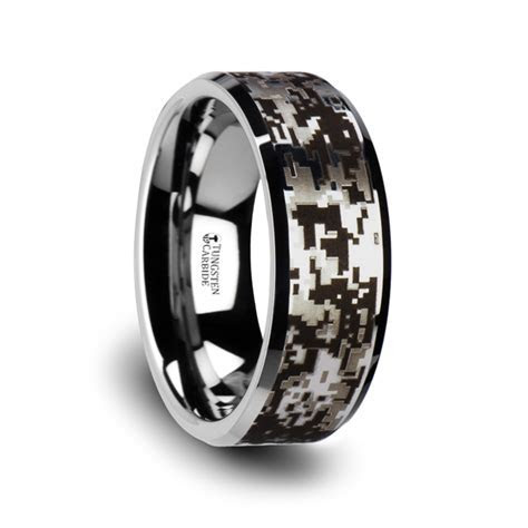 STEALTH Tungsten Carbide Wedding Ring with Engraved