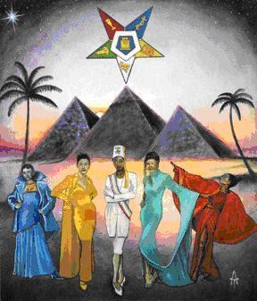 OES arte retratando Sirius acima da Grande Pirâmide.
