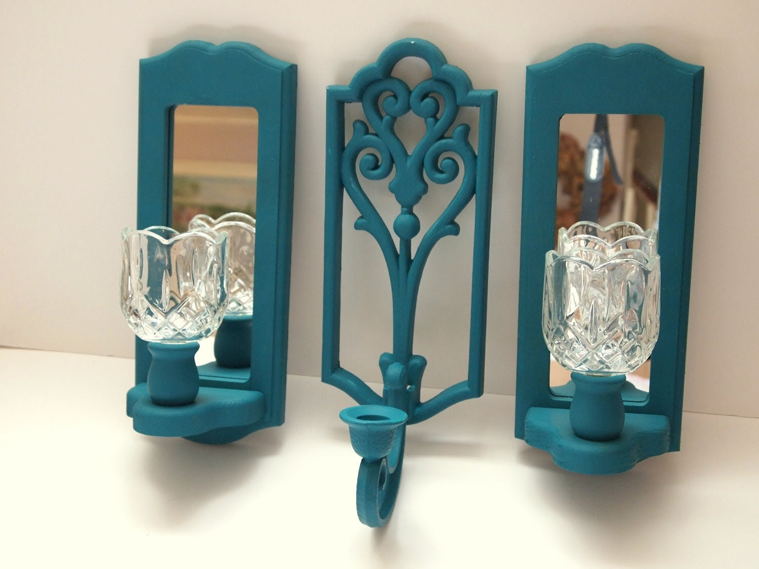 Mirror Wall Teal Candle Sconce Set of Three by MollyMcShabby