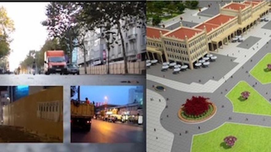 (izquierda) Imagen del vídeo Taksin Square, de Mapping the Commons; (derecha) proyecto del mall en Taksim