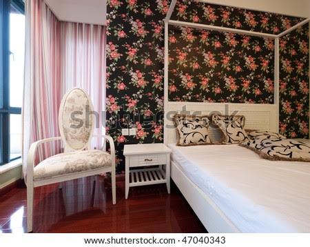 Bedroom Interior With Beautiful Wallpaper Stock Photo 4