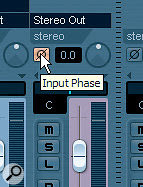 In order for the gated‑send ducking setup to operate correctly, you need to invert the signal polarity of the gated FX Channel track using its Input Phase button (top). You can access this button from the Mixer window, although you may have to click the Show Routing arrow at the top left of the window first if you can't spot it straight away.
