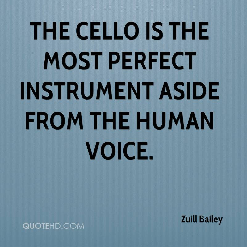 The cello is the most perfect instrument aside from the human voice.