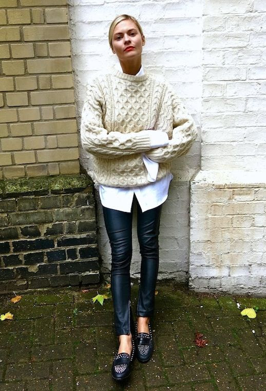 Le Fashion Blog Blogger Style Oversized Cream Knit Sweater White Shirt Leather Leggings Studded Slip Ons Via Pandora Sykes