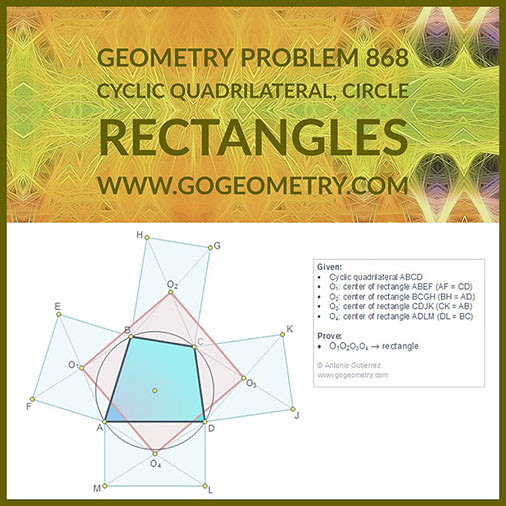 Geometric Art Geometry Problem 868: Cyclic Quadrilateral, Circle, Five Rectangles, Four Centers, Congruence, Typography, iPad Apps.