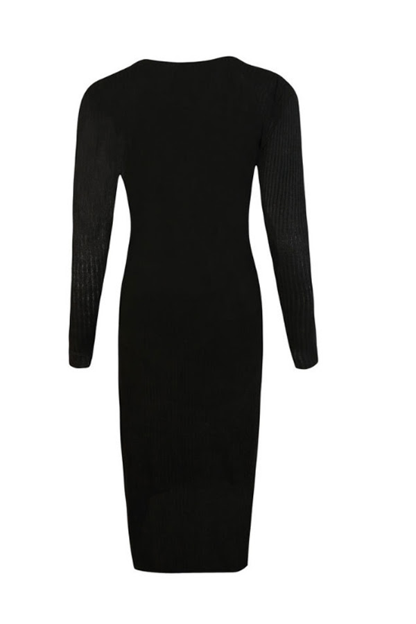 Cutouts Collar Bodycon Plain Over Sleeve Dresses Breasted Fold Long Single for winter