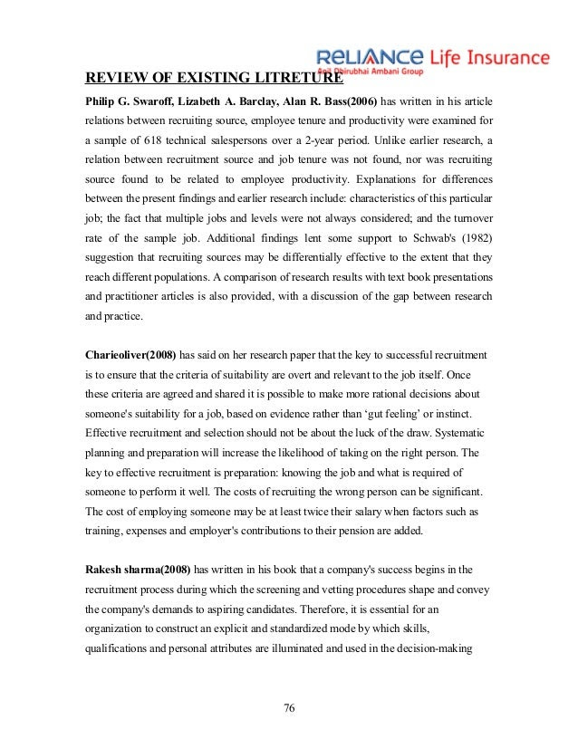 Literature review of effectiveness of recruitment and ...