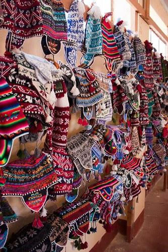Hand Knit Hats on Lake Titicaca