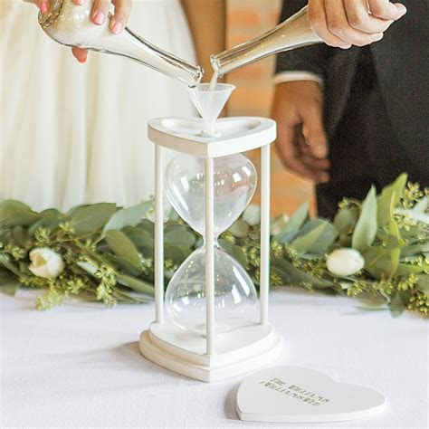 Unity Sand Ceremony Set   White Hourglass Personalized