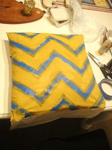 DIY painters tape chevron pillow