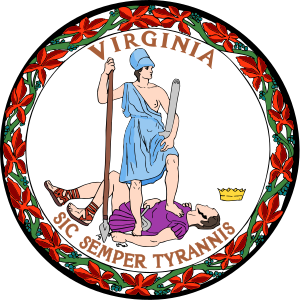 The state seal of Virginia.
