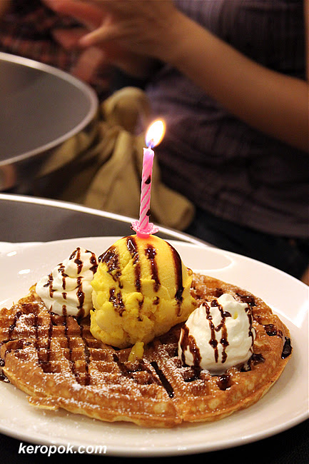 Candles on Mango Gelato on Waffle
