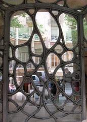 Web work at entrance to La Pedrera