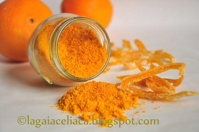 scorze candite e polvere d'arancia