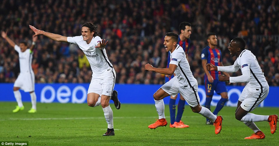 Edinson Cavani celebrates after scoring the crucial away goal for PSG in the 62nd minute of the game on Wednesday night