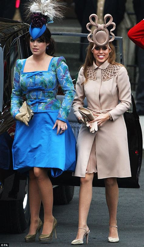 Beatrice and Eugenie ditch their 'pretzel' hats and frumpy