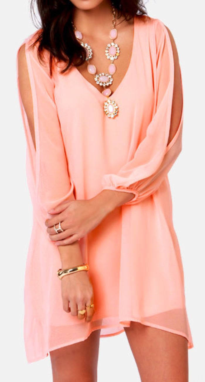 Lovely Peachy Dress & Gorgeous Matching Necklace http://www.missesdressy.com/blog/statement-necklaces.html