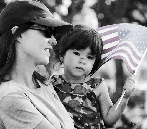 Downey 9/11 Program girl with flag