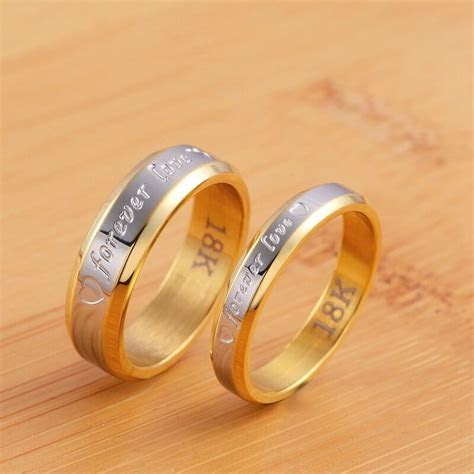 "Stainless Steel Couple ""forever love"" Ring Gold Wedding"