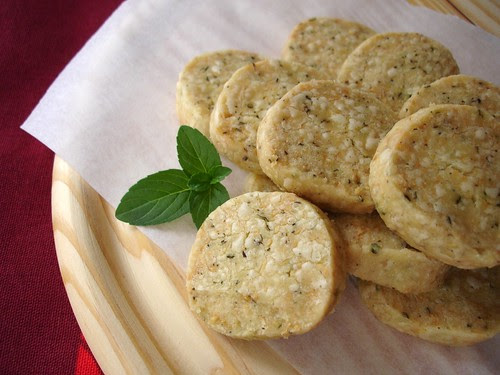 Savory herb, black pepper and parmesan shortbread