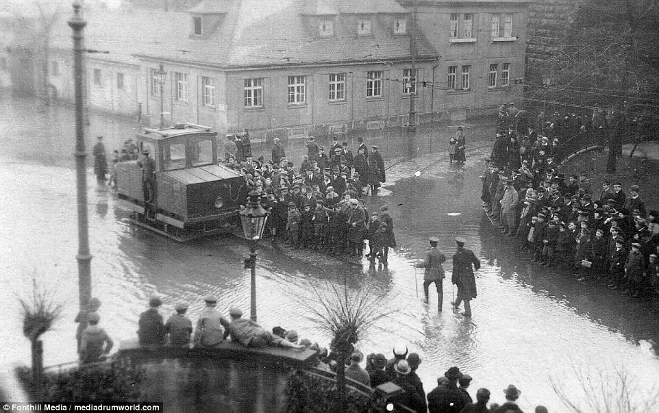 The area around the Rhine often flooded during the winter months. This was the flood that occurred in 1919 while the British troops were there