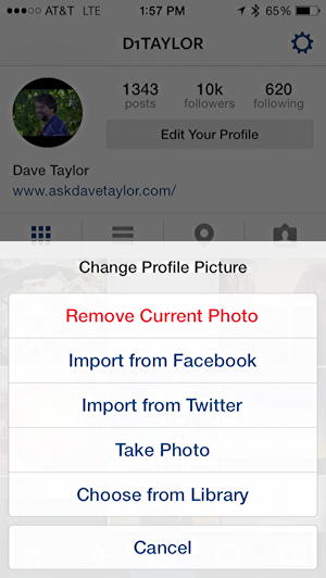 How do I change my Instagram profile photo pic? - Ask Dave ...