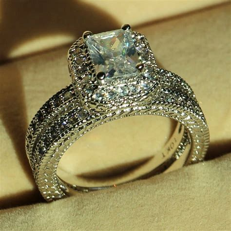 Vintage Jewelry Diamonique CZ White Gold Filled Wedding