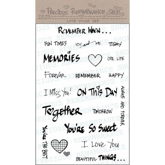 """Photopolymer Clear Stamps - Love Stamp Set - 4""""x6"""" Sheet - High Quality - 20 Stamps - Clear Stamps - Sentiments - Heart"""