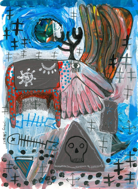 DREAM BEAST original painting - outsider art -raw - primitive - naive - contemporary - mixed media