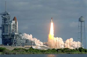 On April 24, 1990, space shuttle Discovery launches on STS-31...the flight to deploy the Hubble Space Telescope.