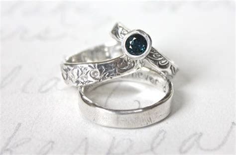fair trade sapphire engagement ring and wedding band set