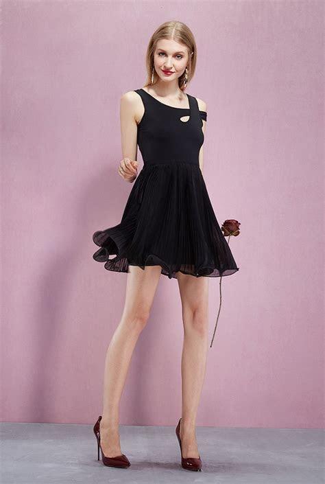 Asymmetrial Neckline Pleated Chiffon Short Dress  GemGrace