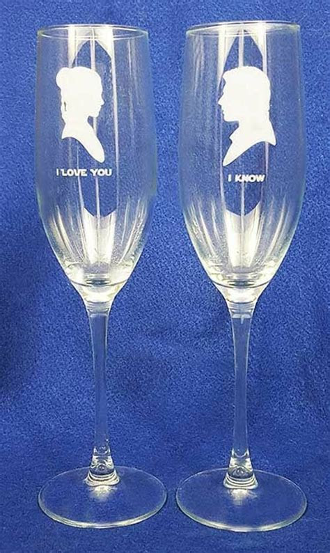 Star Wars Wedding Glasses & knife set personalized
