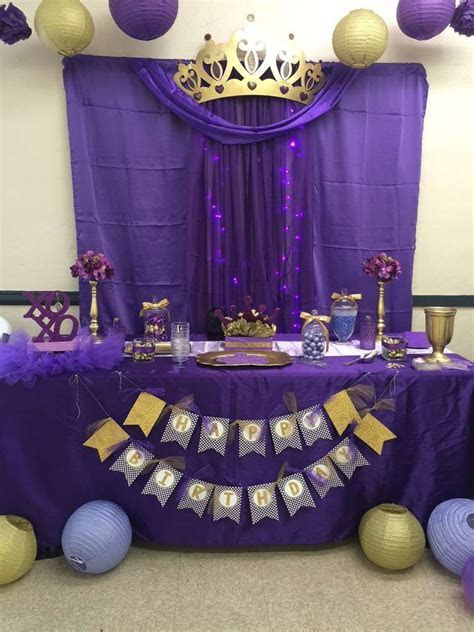 Royal Queen purple and gold birthday party! See more party