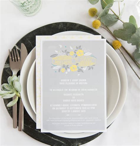 floral stamp wedding invitations by mock up designs