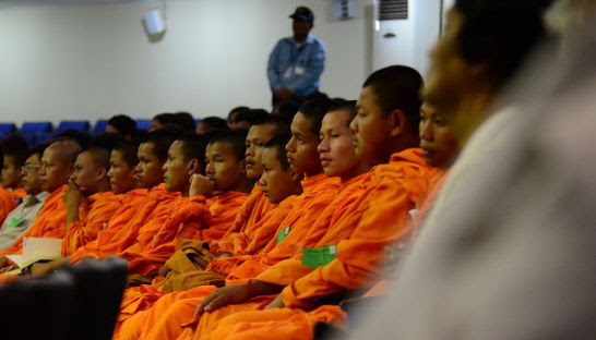 A group of monks follow proceedings at the Khmer Rouge tribunal in April. ECCC
