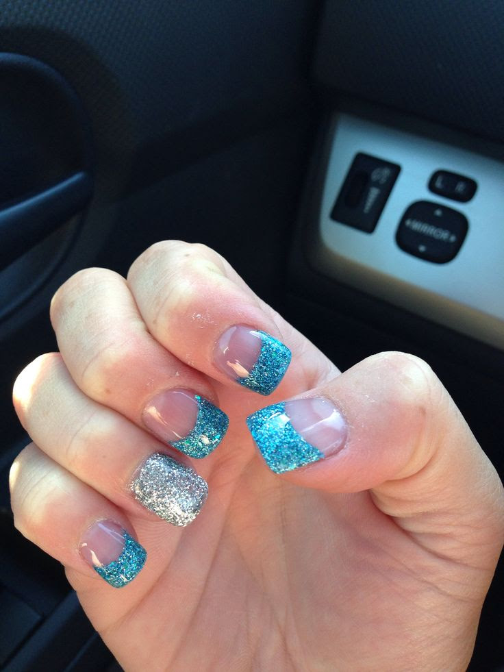Blue and silver glitter nails   Glitter acrylic nails ...