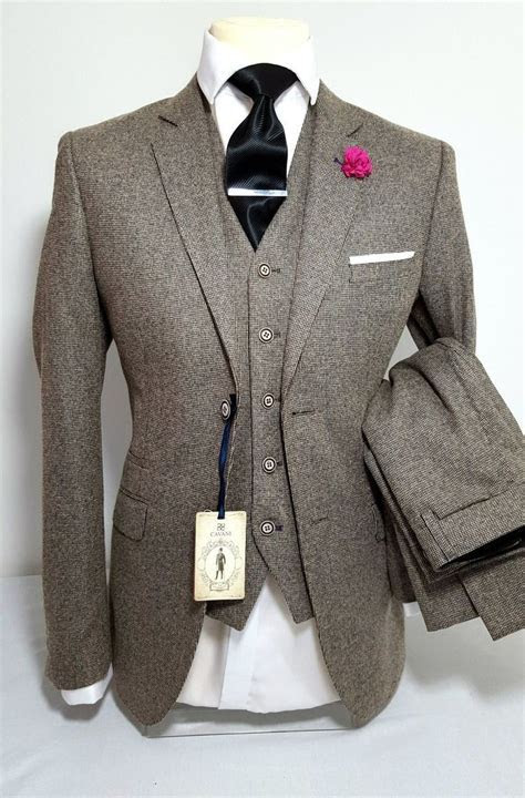 Details about MENS TAN 3 PIECE TWEED SUIT WEDDING PARTY