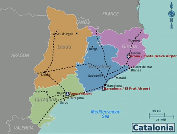 Modern-day map of Catalonia