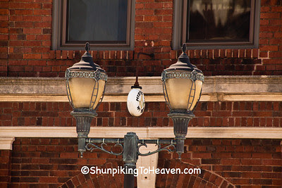 Old-Fashioned Street Lamps and Masonic Lodge Sign, Polo, Illinois