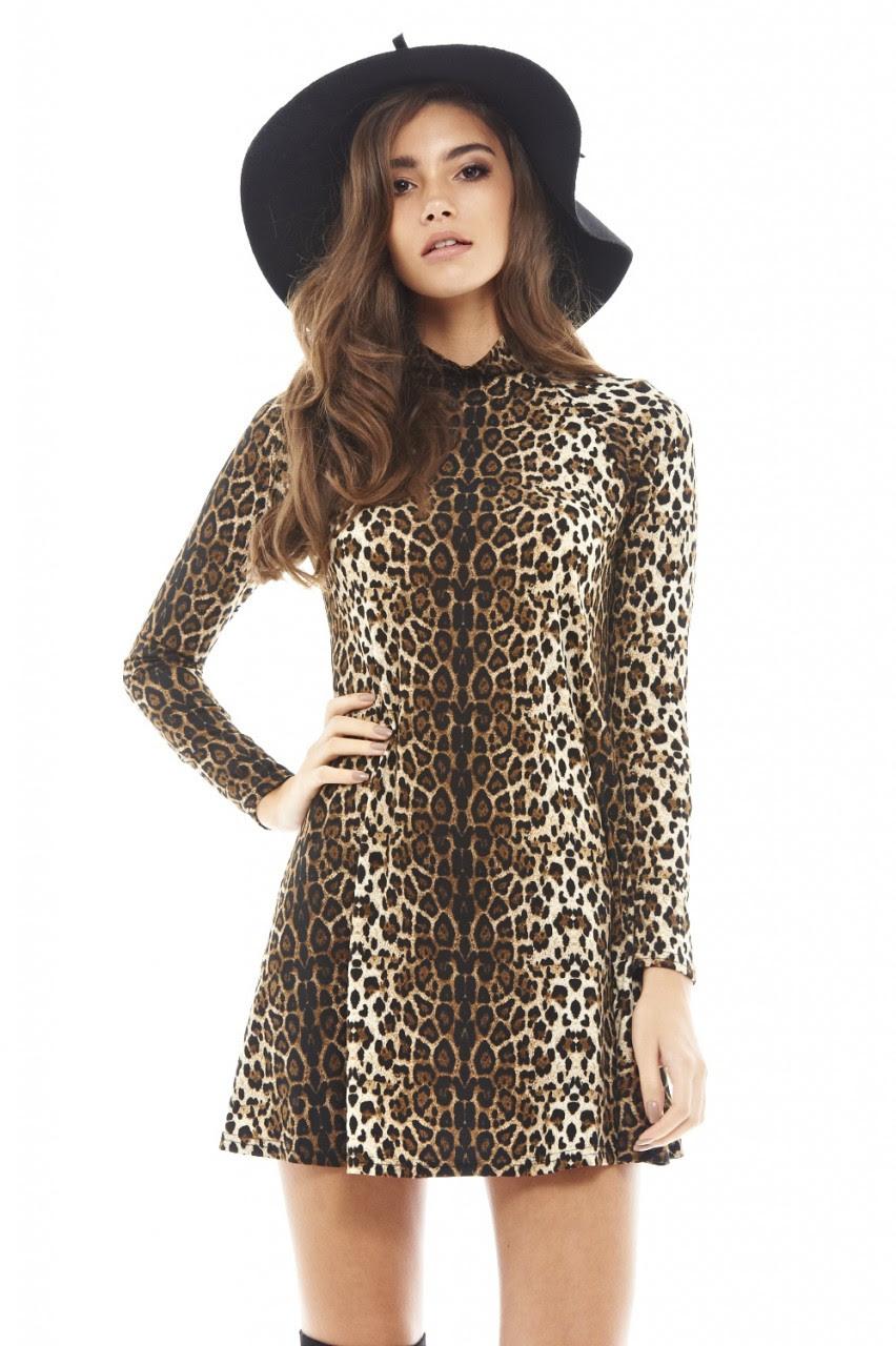 Bulk long sleeve leopard print mini dress cheap summer